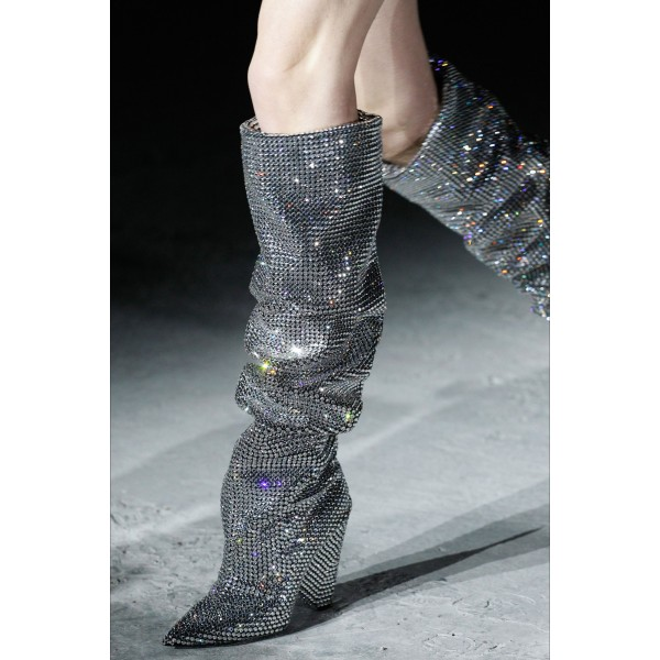 Silver Hotfix Slouch Boots Chunky Heel Knee High Boots image 3