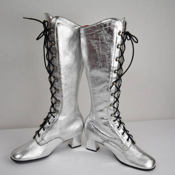 b5f453c6b2f Silver Lace up Chunky Heel Boots Square Toe Mid-calf Long Boots image 1 ...