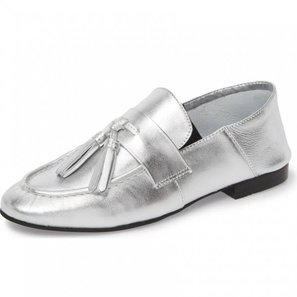 a467838e95f Silver Loafers for Women Round Toe Flats with Tassel for Work ...