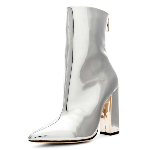 7fb4a44773 Silver Metallic Chunky Heel Boots Ankle Boots for Work, Music ...
