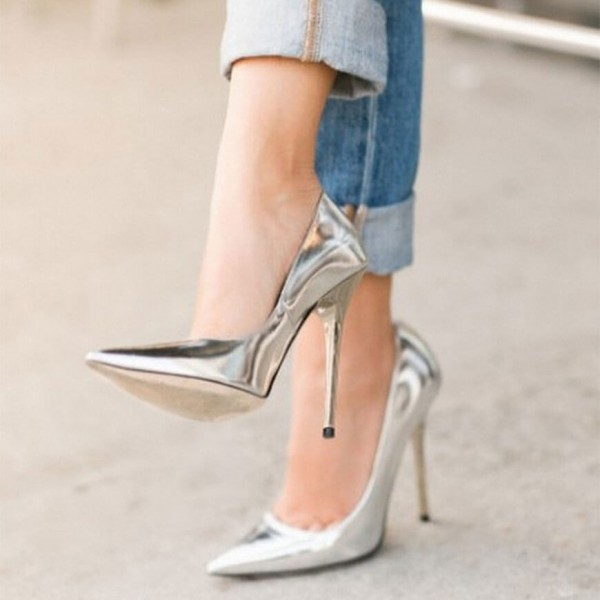 Silver Metallic Heels Pointy Toe Stiletto Heel Pumps for Office Lady image 1