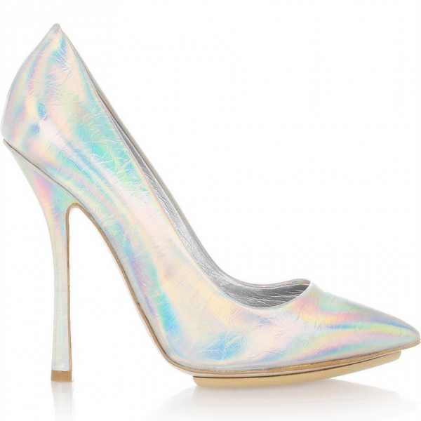 Silver Stiletto Heels Pointy Toe Mirror Leather Pumps image 2