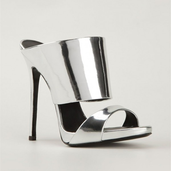 Silver Metallic Mule Heels Open Toe Stiletto Heels for Office Lady image 4