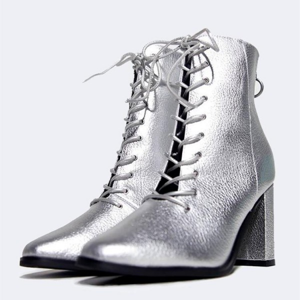 56a951de81e Silver Metallic Lace Up Boots Chunky Heel Ankle Boots for Work ...