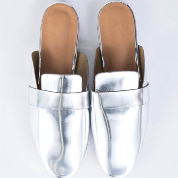 Silver Round Toe Metallic Loafer Mules Casual Flat Loafers for Women image 3