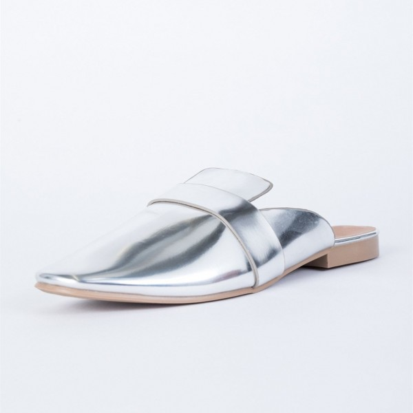 Silver Round Toe Metallic Loafer Mules Casual Flat Loafers for Women image 1