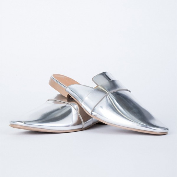 Silver Round Toe Metallic Loafer Mules Casual Flat Loafers for Women image 4