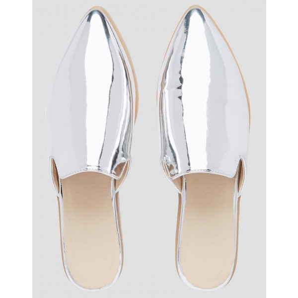 Silver Mirror Leather Loafer Mules Pointy Toe Flats for Women image 4