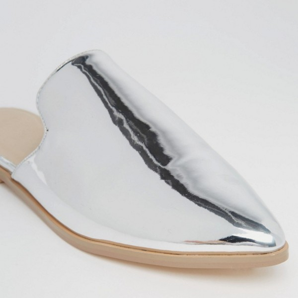 Silver Mirror Leather Loafer Mules Pointy Toe Flats for Women image 3