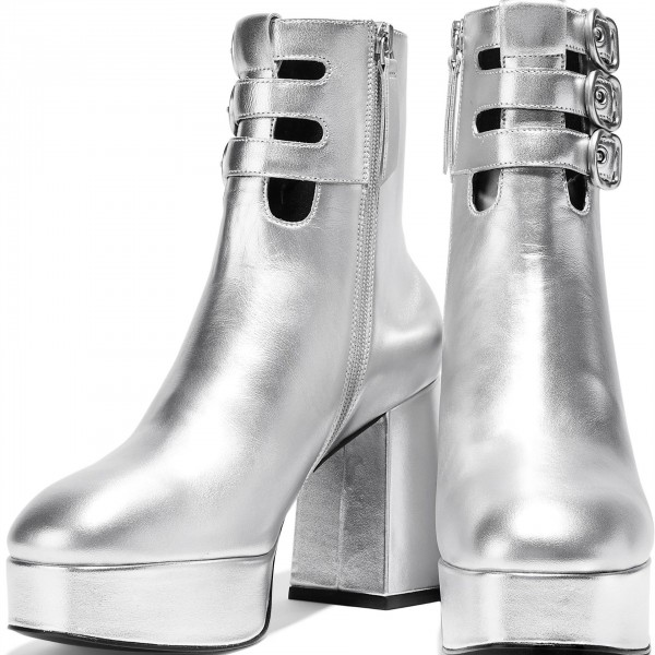 Silver Buckle Boots Metallic Round Toe Chunky Heel Platform Boots image 3
