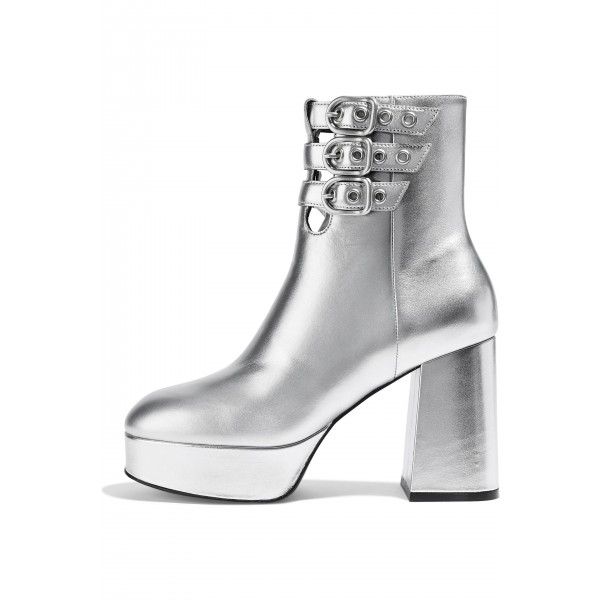 Silver Buckle Boots Metallic Round Toe Chunky Heel Platform Boots image 1