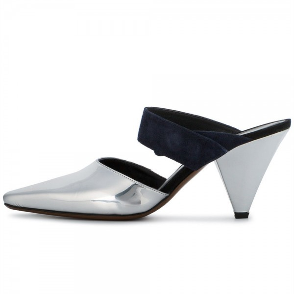 Silver Metallic Square Toe Cone Heel  Mules Office Pump image 1