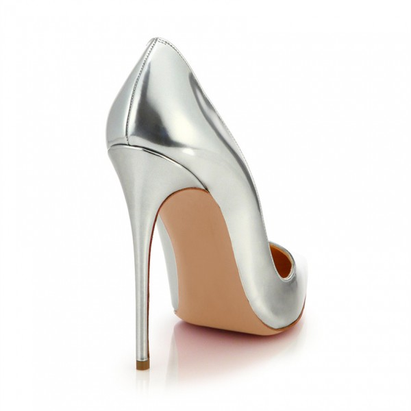 Silver Metallic Heels Pointy Toe Stiletto Heels Pumps for Office Lady image 2
