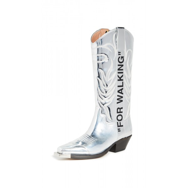 Silver Embroider Letters Cowgirl Boots Block Heel Mid Calf Boots image 1