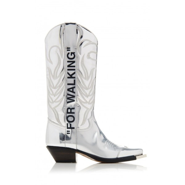 Silver Embroider Letters Cowgirl Boots Block Heel Mid Calf Boots image 5