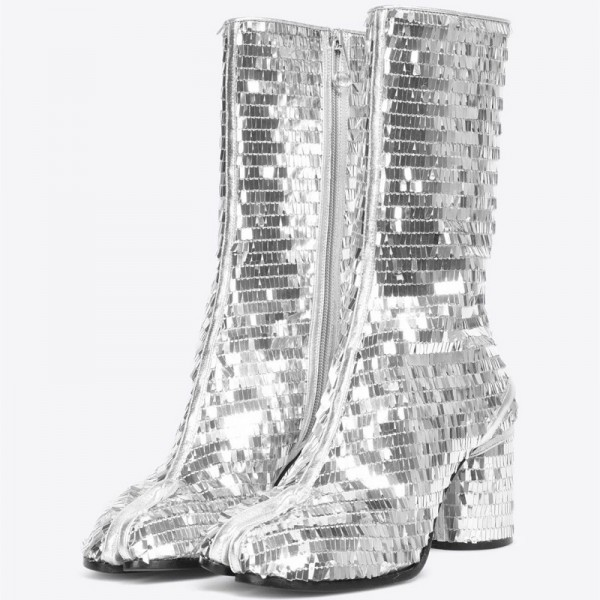 Silver Mirror Chunky Heel Boots  Portable Zipper Mid Calf Boots image 1
