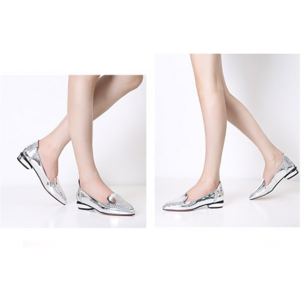 Women's Silver Mirror Leather Pointed Toe Comfortable Flats image 3
