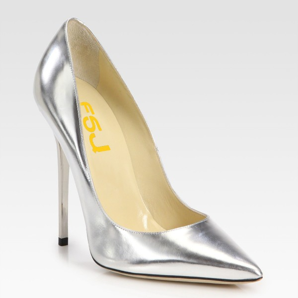Silver Metallic Heels Pointy Toe Stiletto Heel Pumps for Office Lady image 5