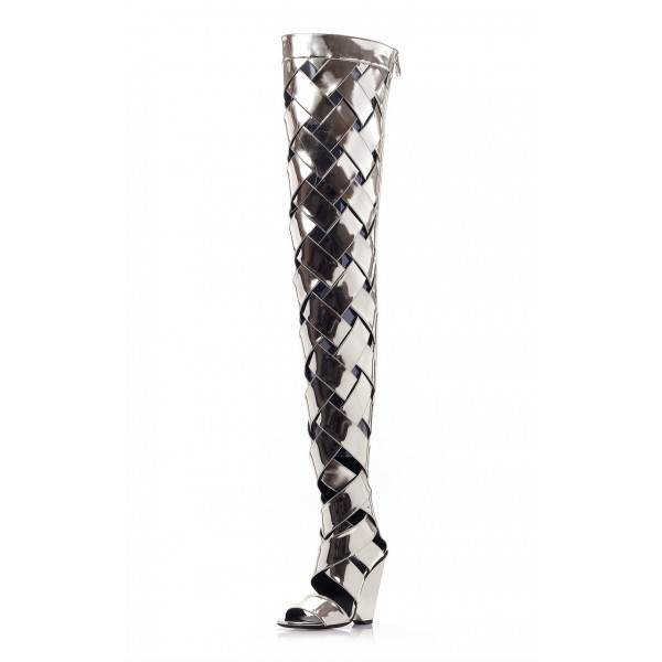 Silver Mirror Thigh High Heel Boots Open Toe Chunky Heels Summer Boots image 1