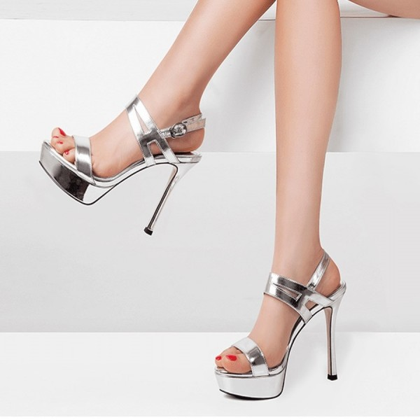 2019 factory price 60% clearance temperament shoes Silver Open Toe Stiletto Heels Platform Sandals for Women
