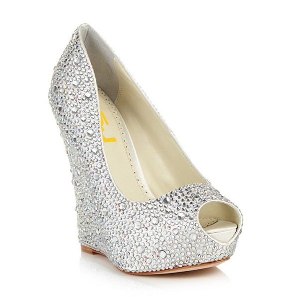 Silver Wedding Heels Rhinestone Peep Toe Wedge Heel Pumps for ...