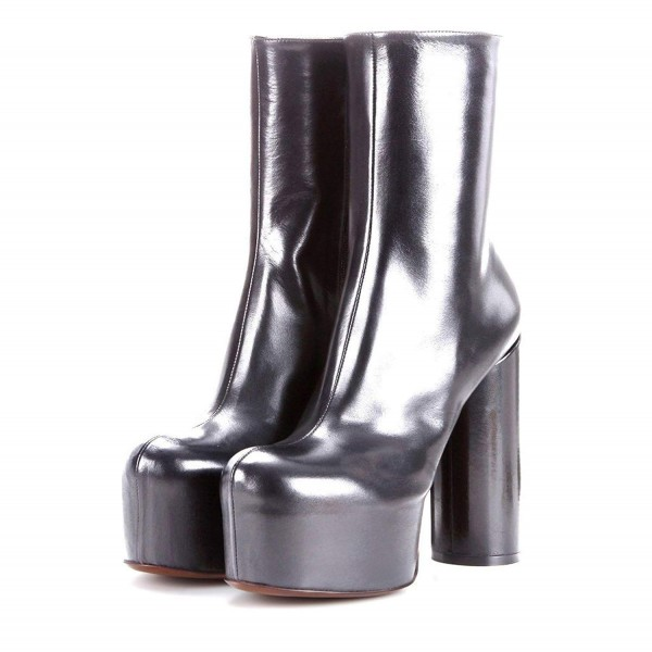 Silver Platform Boots Fashion Block Heel Ankle Boots image 1