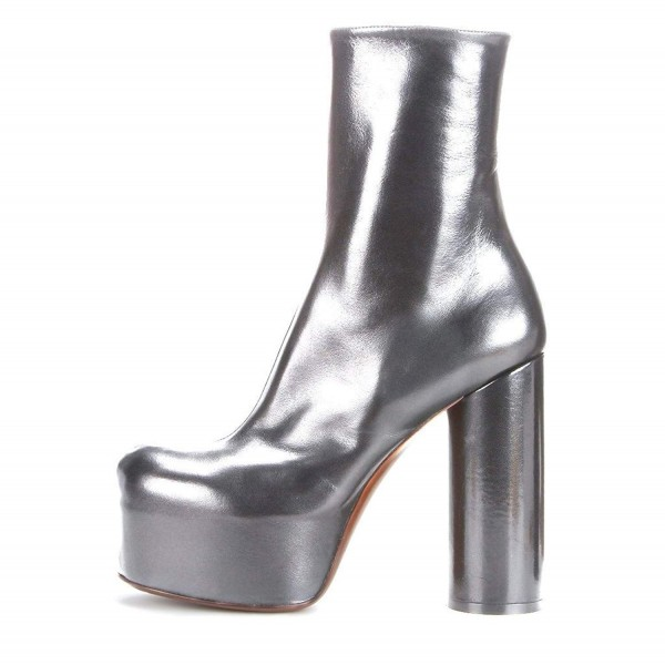 Silver Platform Boots Fashion Block Heel Ankle Boots image 3