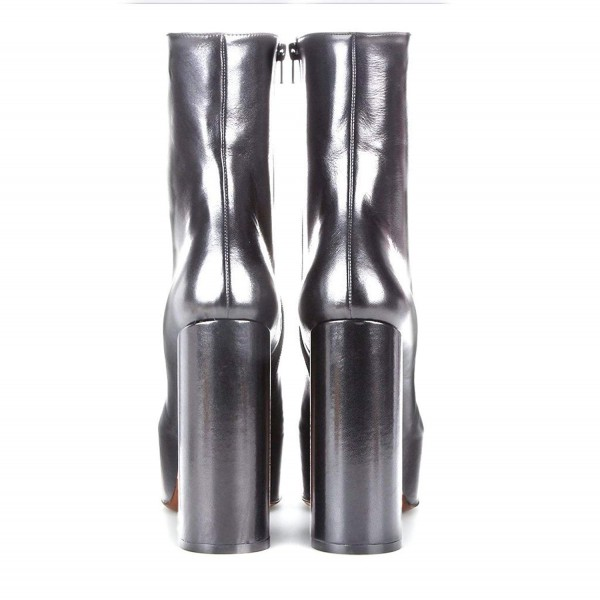 Silver Platform Boots Fashion Block Heel Ankle Boots image 2