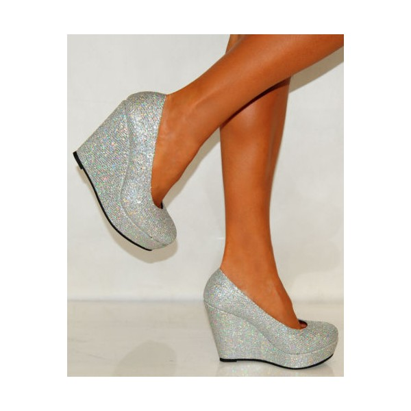 Silver Closed Toe Wedges Glitter Round Toe Platform Pumps image 2