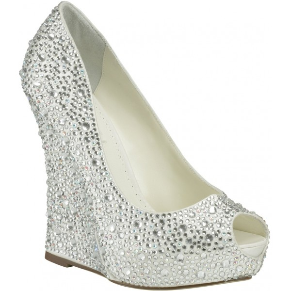 Silver Wedding Heels Rhinestone Peep Toe Wedge Heel Pumps image 4