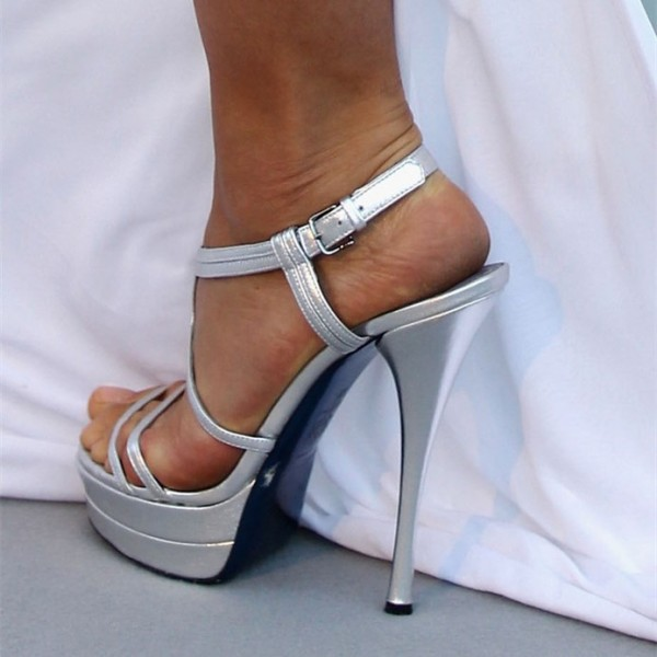 Silver Wedding Sandals Open Toe Platform Sandals Slingback Heels image 2