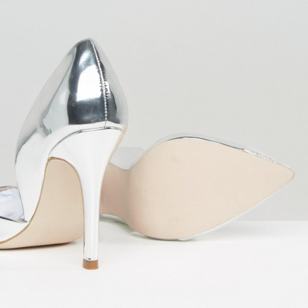 Silver Pointy Toe Metallic and Glitter Stiletto Heels Pumps image 2