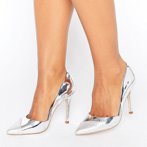 Silver Pointy Toe Metallic and Glitter Stiletto Heels Pumps image 1