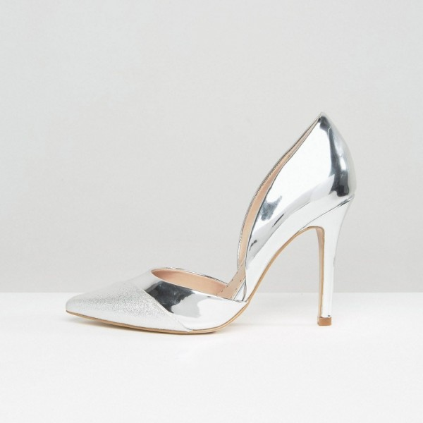 Silver Pointy Toe Metallic and Glitter Stiletto Heels Pumps image 4