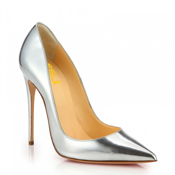 Silver Metallic Heels Pointy Toe Stiletto Heels Pumps for Office Lady image 4