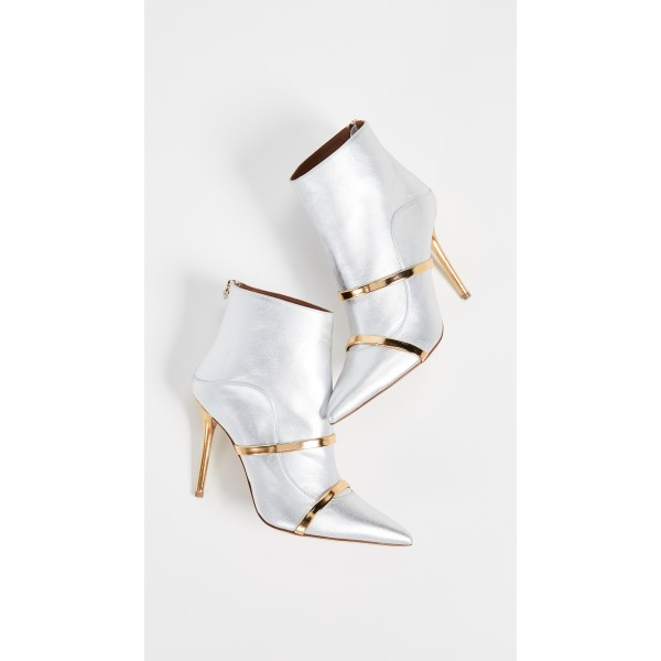 Silver Pointy Toe Stiletto Boots Fashion Ankle Booties with Gold Strap image 3
