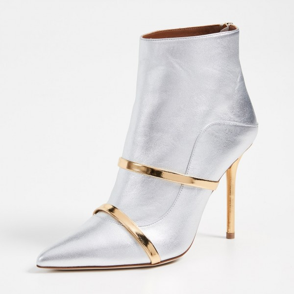 Silver Pointy Toe Stiletto Boots Fashion Ankle Booties with Gold Strap image 2