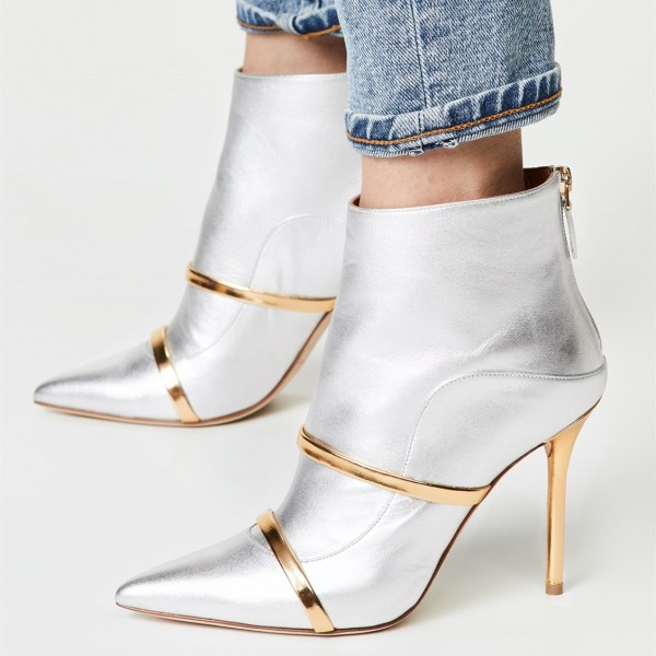 Silver Pointy Toe Stiletto Boots Fashion Ankle Booties with Gold Strap image 1