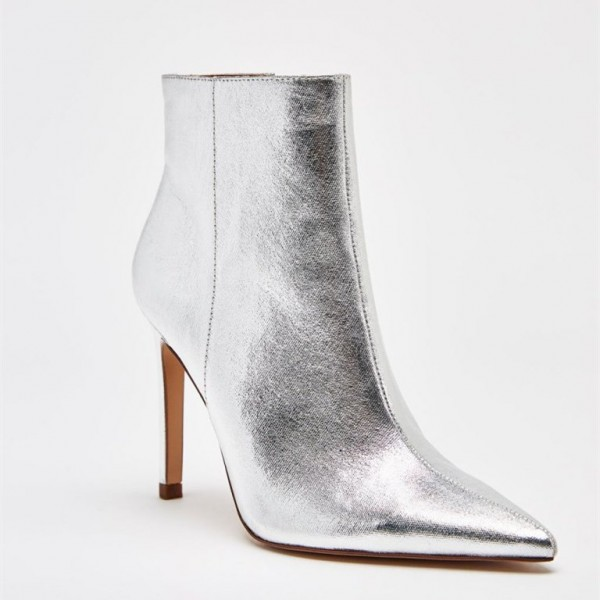 Silver Stiletto Boots Mirror Leather Pointy Toe Ankle Fashion Boots image 2