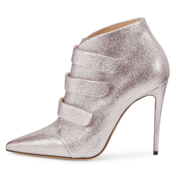 Silver Pointy Toe Stiletto Heel Ankle Booties image 3