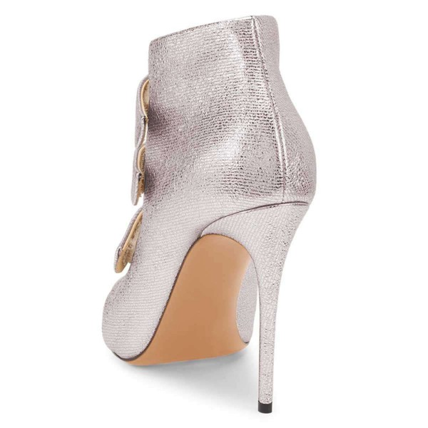 Silver Pointy Toe Stiletto Heel Ankle Booties image 5