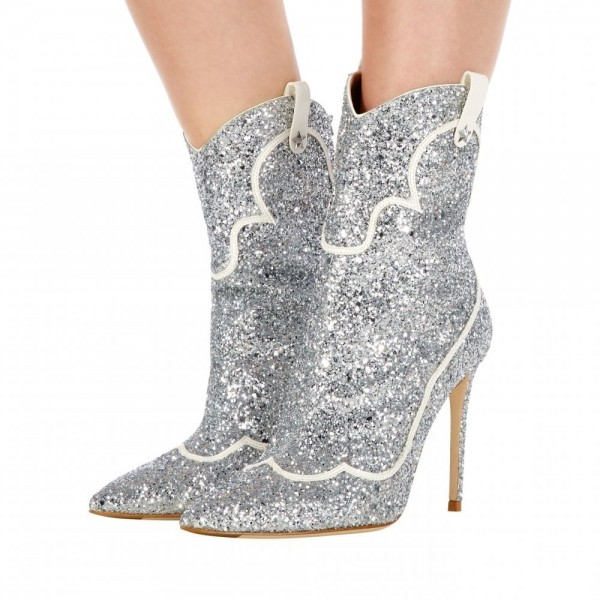 Silver PU Glitter Boots Pointy Toe Stiletto Heel Ankle Booties image 1