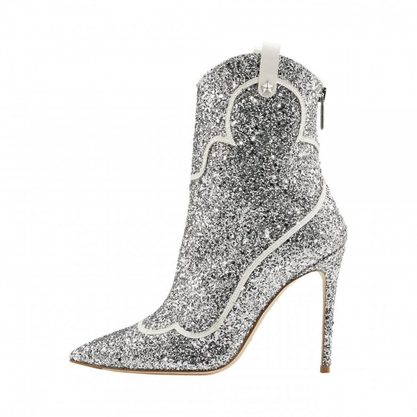 Silver PU Glitter Boots Pointy Toe Stiletto Heel Ankle Booties image 3
