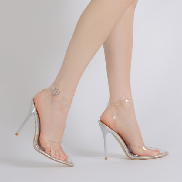 Clear Heels Ankle Strap PVC Closed Toe Sandals for Women image 4