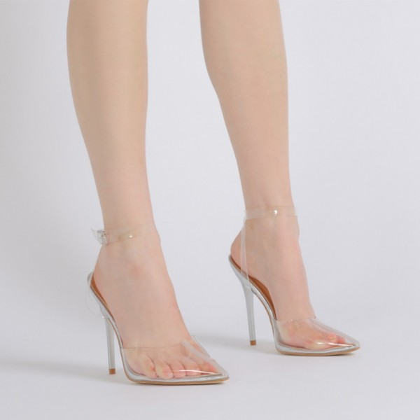 Clear Heels Ankle Strap PVC Closed Toe Sandals for Women image 5