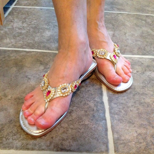 Silver Rhinestone Thong Sandals Flat Sandals image 1