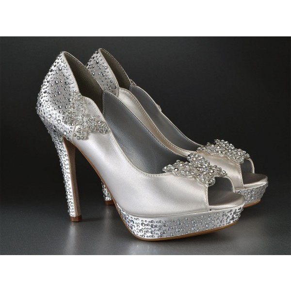 Women's Silver Satin Bridal Heels Peep Toe Rhinestone Platform Pencil Heel Pumps  image 2