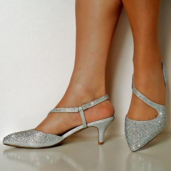 Silver Rhinestone Wedding Shoes Pointy Toe Slingback Kitten Heels image 1