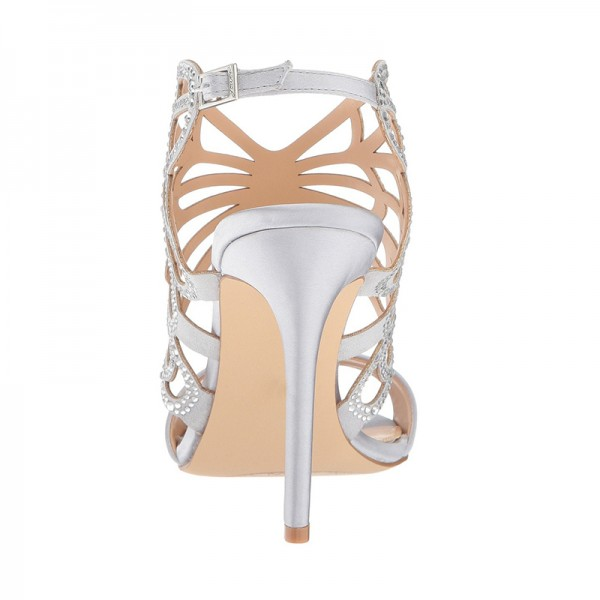 Silver Bridal Heels Butterfly Style Rhinestone Hotfix Sandals image 2