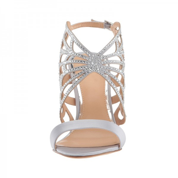 Silver Bridal Heels Butterfly Style Rhinestone Hotfix Sandals image 3